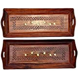 Happie Shopping Wooden Premium Quality Serving Tray With Hand Carved Design 11 Inch (Set Of 2)