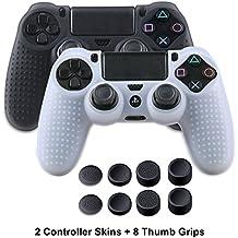 Silikon Hülle für PS4 Controller,Anti-Rutsch Schutzhülle für Sony Play Station 4/Slim/Pro Controller,2 stück PS4 Controller Abdeckungs Haut Kasten (Schwarz&Weiß) mit 8 x Daumen Griffe Grips