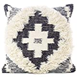 Eyes of India - 20' Black White Woven Tufted Tassel Wool Embroidered on Cotton Cushion Cover Fringe Pillow Sofa Throw Bohemian Indian COVER ONLY