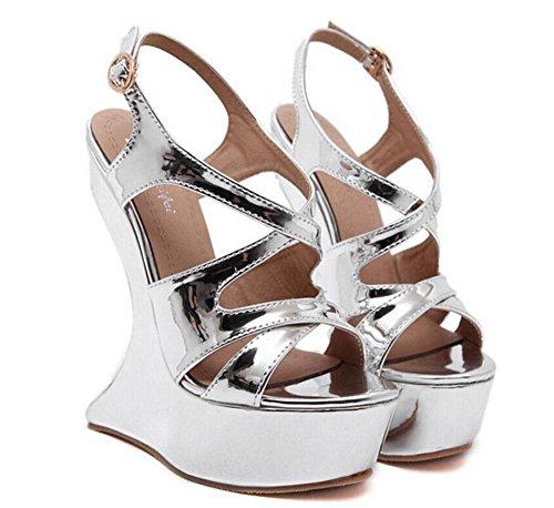 SHINIK Femmes Talons hauts Pompes Sandales d'été Haut talon en forme de bureau imperméable Charming Nightclub Chaussures Silver