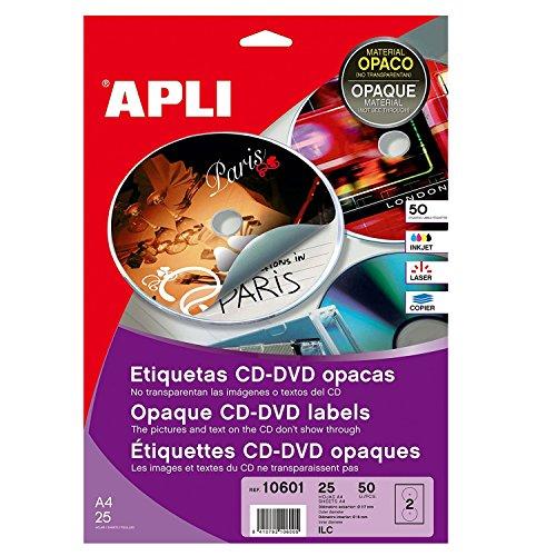 Apli - Paquete De 200 Etiquetas Cd/Dvd Clásicas Cobertura Total 117/18
