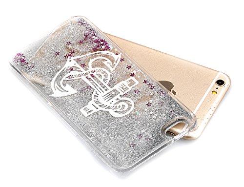 Cover iPhone 6S,Cover iPhone 6, ikasus® Di lusso Bling Bling scintilla scintillio iPhone 6S / 6 Case Custodia Cover [Cristallo Trasparente] Protettiva Trasparente con Liquido che scorre copertura dura Glitter Argento:ancora