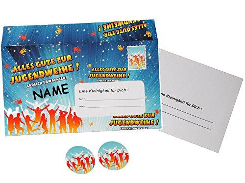 Preisvergleich Produktbild alles-meine.de GmbH XL Umschlag & Karte - Alles Gute zur Jugendweihe ! - Incl. Name - für Glüc..