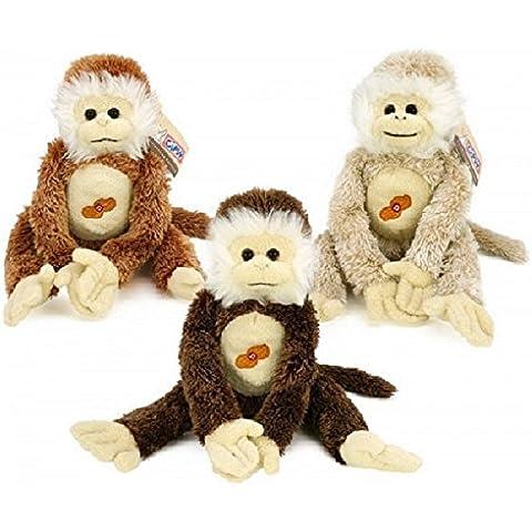 Peluche a forma di scimmia con suono e mano di 38cmhe velcro., colore: marrone chiaro