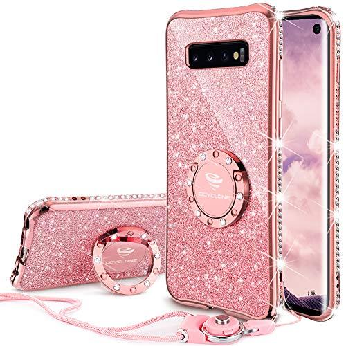 Hülle, Glitzer Diamant Handyhülle mit Trageband und Handy Ring Ständer Schutzhülle für Galaxy S10 Handy Hülle für Mädchen Frauen, [6.1 Zoll] Rosa Gold ()