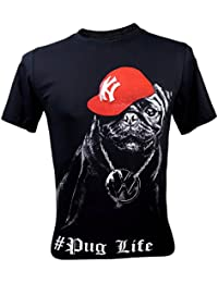 PALLAS Unisex Pug Life Funny T-Shirt Black
