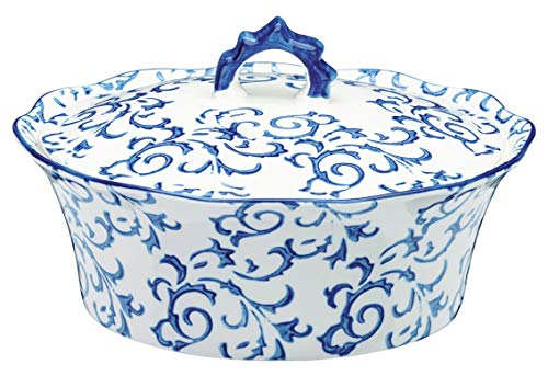 Kitchen Cookware Classy Stylish 3 L Stoneware Round Casserole in Gloss Finish (Oven and Dishwasher Safe) (Blue)