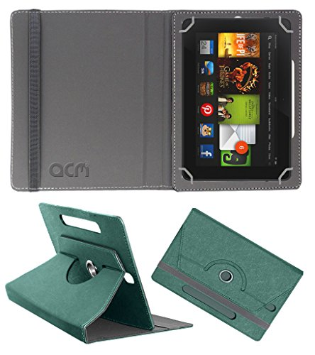 Acm Designer Rotating Leather Flip Case for kindle Fire Hd 7 2012 2nd Gen Cover Stand Turquoise  available at amazon for Rs.169