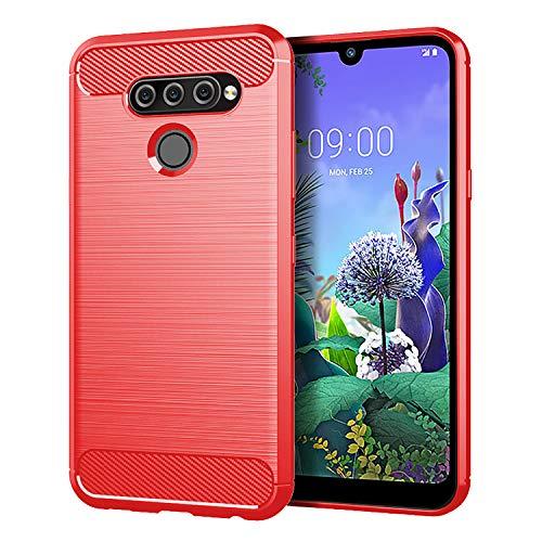 HDOMI LG Q60,LG K50 Hülle,Hochleistungs TPU Silikon Gel Cover Stoßfest Schutzhülle für LG Q60,LG K50 (Rot)