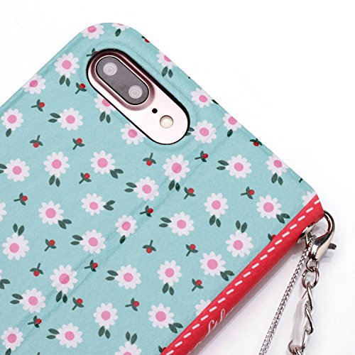[5.5] iPhone 7 Plus Hülle,iPhone 8 Plus Hülle,BtDuck Vintage Mode Damen Blumen Blume Kette Tasche Schultertaschen Handtasche Design Brieftasche Ledertasche Cover Case Schutzhülle für iPhone 7 Plus/iP 7 Plus/8 Plus - Blume#3