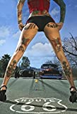 Pinup/Pin up Sexy Frau Erotik Route 66 Tattoo mit Hot Rod Farblich blechschild
