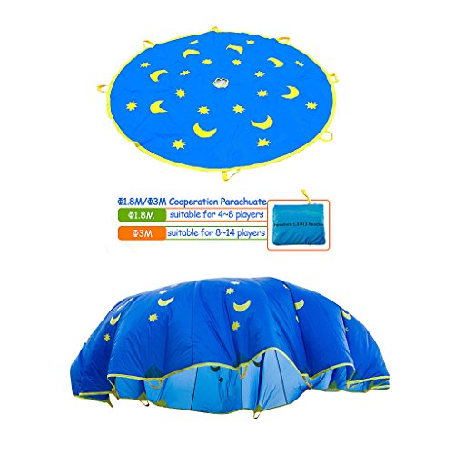 Shinehalo 6 pieds de diamètre jouet parachute Parachute parapluie pour 4-8 joueurs 1,8 M Enfants parachute pour les enfants Sports de plein air Développement Jeux coopératifs Groupe Activités Jouet-Lune et étoiles