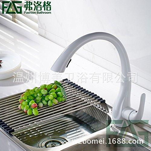 Preisvergleich Produktbild OLQMY-Der pommerschen Kupfer Matt White ziehen - waschbecken wasserhahn drehbaren wasserhahn