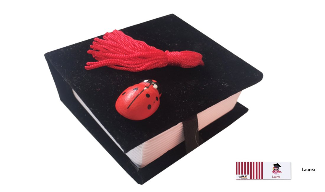 IRPot - KIT 24 PZ Portaconfetti Libro Velluto Laurea TK0806 (Rosso/Nero) (Nero)