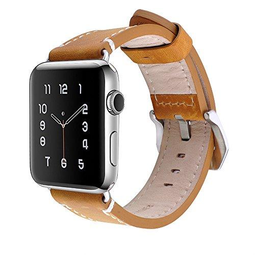 Lederarmband Für Die Apple Watch 42mm Uhrenarmband Armband Braun Moderne Techniken Smartwatch-zubehör Uhrenarmbänder