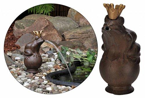 Wasserspeier Froschkönig 22cm inkl. Pumpe Teich Dekoration Gartenfigur Metall