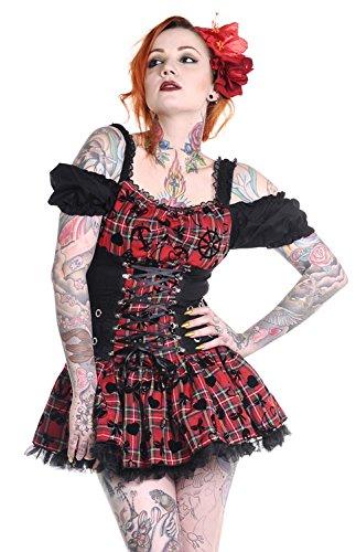 Abito rosso e nero a lacci, con maniche e spalle messe a nudo Banned nero Small