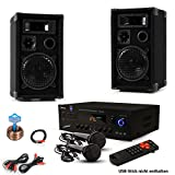 PA Party Kompakt Musikanlage PA Boxen Bluetooth USB SD MP3 Verstärker Kabel 2x Mikrofon DJ-Party 13
