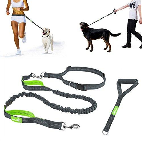Pecute guinzaglio per cani da corsa riflettente, elastico, guinzaglio mani libere per correre e camminare con cane, 1,5 metri, maniglia inclusa