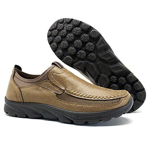 gracosy Herren Leder Freizeitschuhe, Leder Frühling Sommer Herbst Winter Leder Halbschuhe Boots Freizeitschuhe Outdoor Casual Sneakers (Outdoor-synthetik-leder)