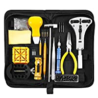 168 Pcs Watch Repair Kit, Baban Professional Spring Bar Tool Set Adjust Watch Band, Watch Tool Kit Upgraded Adjustable Case Opener with Carrying Case