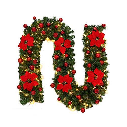 2 Stück Weihnachtsdekoration Rattan + Lichterkette Weihnachten Leichtes String-Rattan Party Weihnachtsbaum Szenenlayout Festival Karneval Wohnzimmer Dekorativer Blume Deko(2.7M)