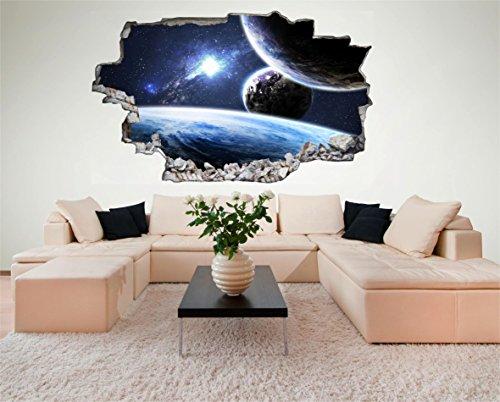 Sonne Erde Space Weltall Galaxy Planeten 3D Look Wandtattoo 70 x 115 cm Wand Durchbruch Wandbild Sticker Aufkleber DesFoli © C231