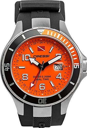 Cressi Traveller Dual Time-Diving Watch Reloj Submarino, Unisex Adulto, Negro/Naranja, Uni