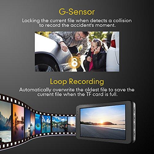 Mibao Dashcam Telecamera per Auto Dash Cam per Auto Camera Car 1080P con 3.0″ LCD, 170 Gradi, G-Sensor, WDR, 6 Glens, Rilevazione di Movimento, Registrazione in Loop,WDR - 7