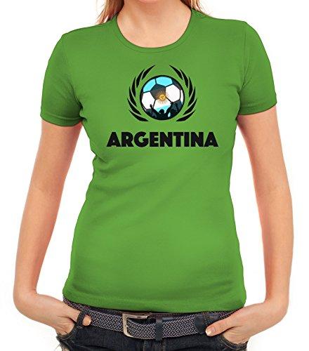 ShirtStreet Argentinia Soccer Fussball WM Fanfest Gruppen Fan Wappen Damen T-Shirt Fußball Argentinien Apfelgrün