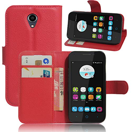 betterfon ZTE Blade L110 hülle,handyhülle Book case Bumper Handytasche Klapphülle mit Kartenfächer Standfunktion für ZTE Blade L110 Rot