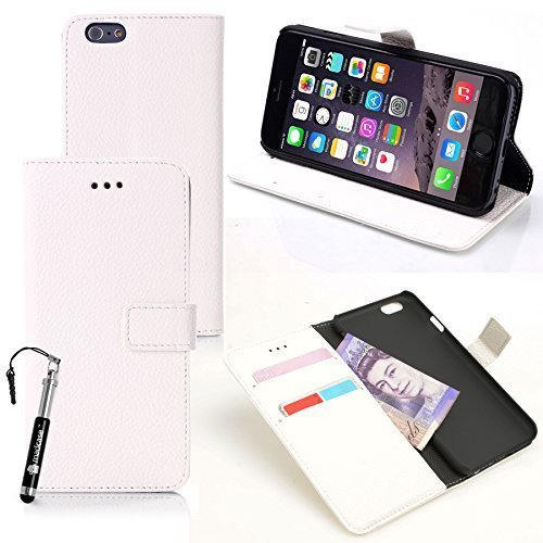 Apple iPhone 6 - Various Designs Premium Quality Leather / Hardcase / Gel / Silicone / Durable / Transparent / Clear / Wallet / Credit Card Holder Flip Case Bumper Stand Cover includes a Stylus Touch  Texture litchi - Blanc