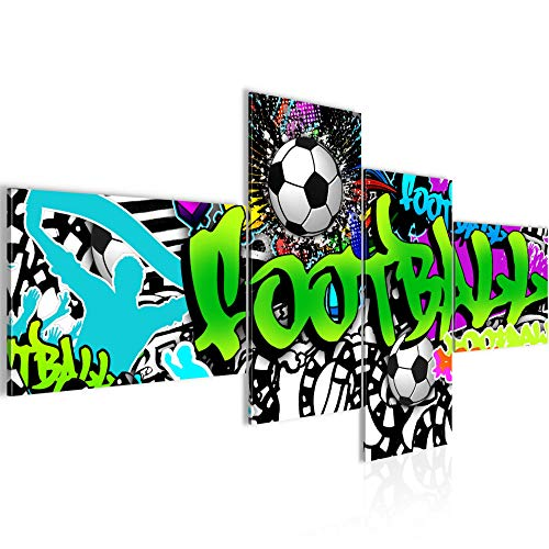 Tableau decoration murale Graffiti de football 200 x 100 cm XXL Impression sur Toile Salon Appartment Vert 4 Parties - prêt à accrocher 402641a
