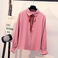 LGK&FA Women'S Shirts With Loose BlouseStriped Chiffon And Bow Tie L Pink
