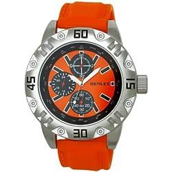 Henley Sports Men'- Armbanduhr Henley Gents Decorative Multi-Eye Orange Strap Analog Quarz Silikon Orange H02078.8