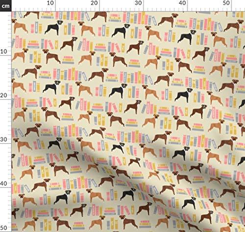 Boxer, Bibliothek, Hund, Hunde, Haustier, Haustiere Stoffe - Individuell Bedruckt von Spoonflower - Design von Petfriendly Gedruckt auf Baumwoll Spandex Jersey -