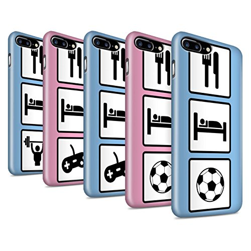 STUFF4 Glanz Snap-On Hülle / Case für Apple iPhone 8 Plus / Fußball/Blau Muster / Essen/Schlaf Kollektion Pack 10pcs