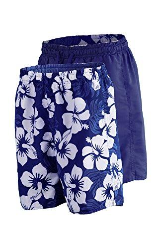 Natation Shorts pour hommes à la mode différentes couleurs 1214-f5150 2 en 1! Uni Marine + Marine / White Hibiscus (1261), taille L