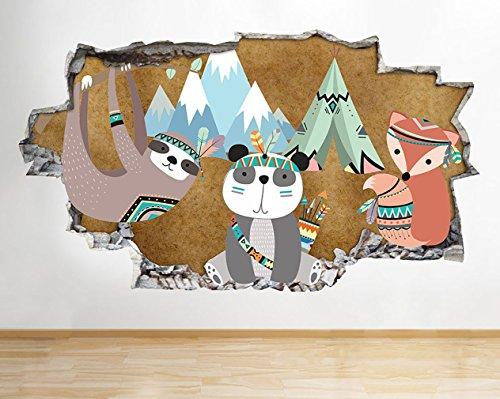 tekkdesigns G564Fox Panda Zelt Kinder Schlafzimmer zerstörten Wand Aufkleber 3D Kunst Aufkleber Vinyl Raum