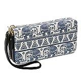 Damen Geldbörse Elefant Lang Portemonnaie Reißverschluss Boho Brieftasche Groß Vintage mit Abnehmbare Handschlaufe und Münzfach Geldtasche (Weiß Elefant)