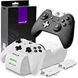Fosmon Microsoft Xbox One/One S/One X/Elite Controller Ladestation Stand Charging Set[2X 1000mAh Akku][SCHNELL Dual Charger]LED Docking Station Ladegerät Konsole Halterung[Batterien|Power Packs]-Weiß