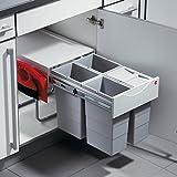 Hailo Raumspar Tandem Küchen-Abfalleimer, Kunststoff, Grau, One Size