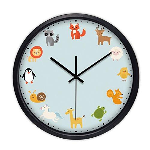 Horloges pour Chambre et Salon Murale métallique Quartz Rond et Montres Balayage Secondes Silence Silencieux Adapté (Color : Blue-C, Size : 40.5cm(16inch))
