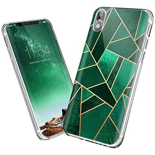 NEEDOON Coque iPhone X Ultra-mince anti-rayures TPU Geometric Design Housse Classy Case pour la protection du téléphone (E) C