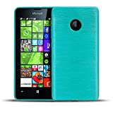 Nokia Lumia 630 TPU Gummi Hülle Blau, Metall Optik Brush Design, Schutzcover Bumper, Handyhülle aus Silikon Lumia 630 Cover Rückschale Blau, Nokia Lumia 630 (4,5 Zoll (11,4 cm)