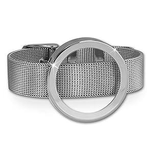Armband Edelstahl silber Damen Mesh mit Coin-Fassung 30mm Amello Edelstahl-Schmuck ESCA07J