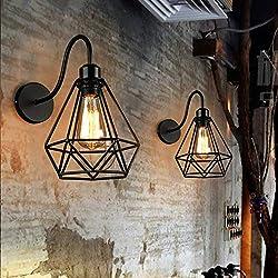 2 pack Apliques Murales Vintage Industriel Noir Diamant Cage en Métal Plafonnier Luminaire Rétro Applique Intérieure Décoration pour Salon Cuisine Couloir Chambre Café Bar
