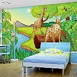 3D Fototapete Cartoon Wald Giraffe Kinderzimmer Schlafzimmer Stoff Hintergrund Dekor Wandbild Wandmalerei, 260X180 Cm (102,36X70,87 In)