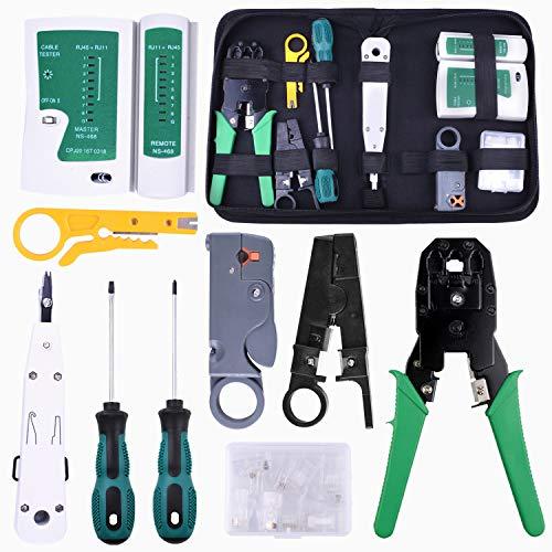 kuman Netzwerk Reparaturwerkzeuge Professionell Netzwerk Werkzeug Set Netzwerk Kabeltester Kit Patchkabel Tester Computer Wartung LAN Kabel Tester P9200