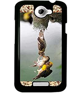 ColourCraft Lovely Birds Design Back Case Cover for HTC ONE X